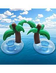 4PCS Bar Piscine Flottant Gonflable Pour Piscine Cocotiers Style (Vert Bleu)