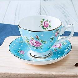 Za Ruo Xiu Taza De Cerámica De Porcelana De Hueso Taza De Café@Rosa De Lunares (Taza + Plato + Cuchara)_101-200Ml Exquisita Taza Y Plato De Café De Cerámica