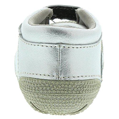 EnFant bébé mixte, Chaussures Souples Premiers pas à Scratch, Cuir 01 Silver