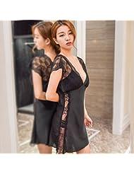 XW-atxsMujeres camisón de seda pijama corta fina seda de hielo princesa Home Furnishing ropa suelta,L Black