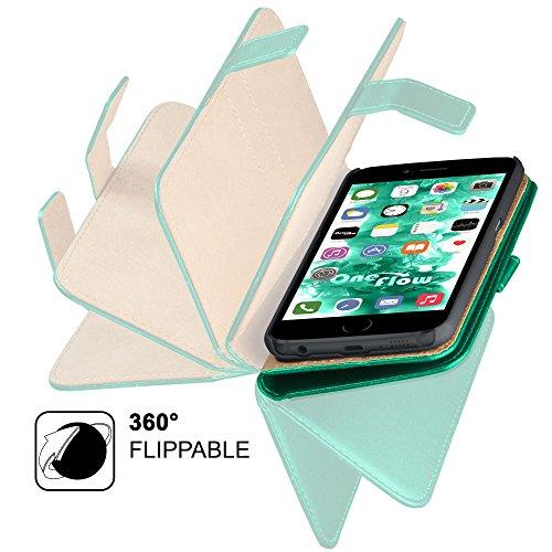 iPhone 5S Hülle Grün mit Karten-Fach [OneFlow 360° Book Klapp-Hülle] Handytasche Kunst-Leder Handyhülle für iPhone 5/5S/SE Case Flip Cover Schutzhülle Tasche EMERALD-GREEN