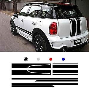 ALLYARD Für Mini Auto Seite Karosserie Autoaufkleber wetterfest Streifen Aufkleber Racing Seite Auto-Tattoo Karosserie Deco Schwarz type3