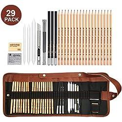 29 Pieza MEIRUIER Set de Dibujo Artista Kit con Lápiz Carbón Grafito Goma Cuchillo con Bolsa para Estudiantes Principantes Profesionales Niños Adultos,Set de Artista para Bosquejo