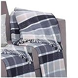 Delindo Lifestyle® Wohndecke SCOTCH BLUE mit Fransen / 450g/m² Kuscheldecke aus 60% Baumwolle / 150x200 cm / Tagesdecke / Wolldecke für Erwachsene