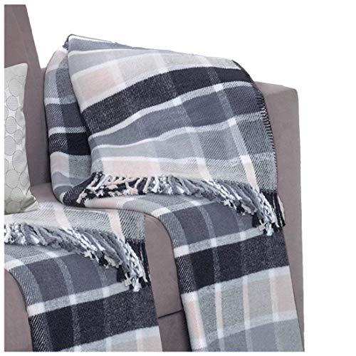 Delindo Lifestyle® Manta suave para sofá SCOTCH AZÚL / 450g/m² Colchas el diseño a cuadros / 60% Algodón / 150x200 cm