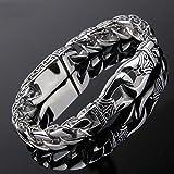 APPWLING Männer poliert Silber Titan Stahl Retro Totem Kette Armband Armreif