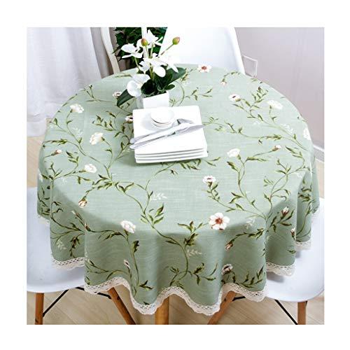 Qiao jin &Tischdecke Runde Tischdecke Baumwolle und Leinen Umweltschutz pastoralen kleinen frischen Haushalt Restaurant Hotel Bankett Tischdecken grün Tischdecken (Farbe : B, größe : Round-180cm)