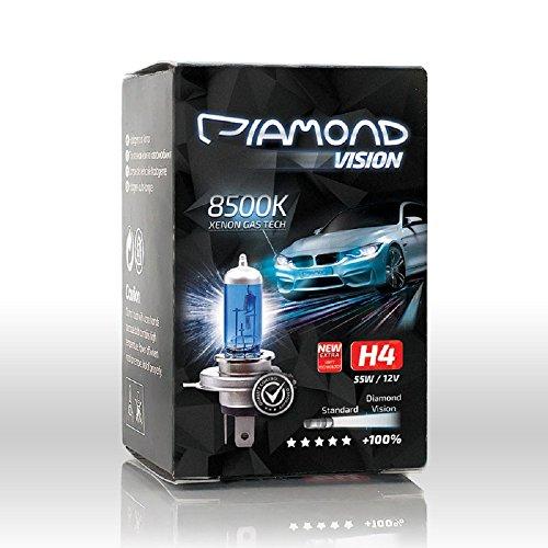 2X H4 60/55W 12V Diamond Vision 8500K Lampade Lampadina Effetto Xenon Look LED Diurna e abbagliante Canbus Super White Vision Racing Blu Cool Blue Alogena Luce Bianca Moto