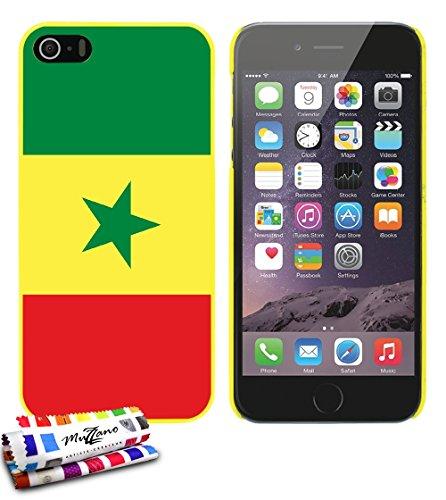 Ultraflache weiche Schutzhülle APPLE IPHONE 5S / IPHONE SE [Flagge Senegal] [Grun] von MUZZANO + STIFT und MICROFASERTUCH MUZZANO® GRATIS - Das ULTIMATIVE, ELEGANTE UND LANGLEBIGE Schutz-Case für Ihr  Gelb
