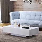 UEnjoy Coffee Table Living Room Furniture High Gloss White
