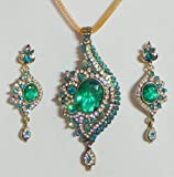 DollsofIndia Cyan with White Stone Studded Pendant with Chain and Earrings - Stone and Metal - Blue