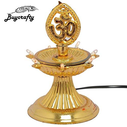 Buycrafty Lot de 2, 1 Layer-electric Doré lampe Deepak lampe de riz de vœux de Noël Motif Diwali Décoration lumière LED