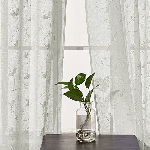 Deconovo tende trasparenti voile ricamate a fiori con occhielli per camera da letto beige 140x245 cm due pannelli