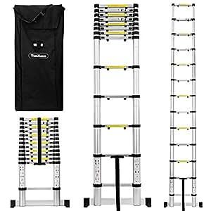 VonHaus :Échelle à rallonge télescopique en aluminium de 3,8 m + sac de transport gratuit