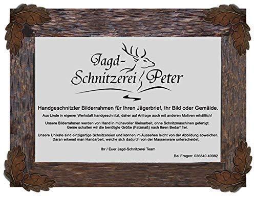 Jagd-Schnitzerei Peter Bilderrahmen Holz Schnitzerei für Bilder Gemälde Jägerbriefe