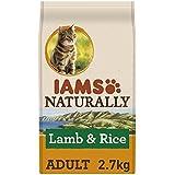 Iams Naturally Katze Lamm (Trockenfutter für erwachsene Katzen mit Lamm aus Neuseeland & Reis), 2.7 kg Beutel, 3er Pack (3 x 2.7 kg)