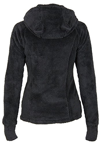 Stitch & Soul women's polar jacket with hood and ears   Warm soft jacket with high collar Black