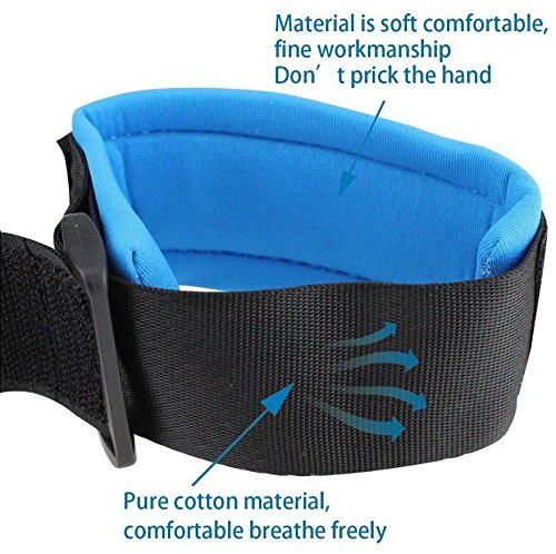 Emwel Anti Lost Wrist Link Belt, 2.5M/ 98Inch Baby Toddler Reins Safety Leash Wristband Walking Hand Belt Harness Security Elastic Wire Rope, Children Kids Travel Cares Safety Restraint (Blue) Emwel It includes a 2.5M /98inch anti lost link with 360 degree rotatable stainless metal buckle and a soft skin-friendly wrist band. Keep toddlers close, it gives toddlers independence but keeps them safe at the same time. Suitable for looking after toddlers, keep them close without watching them tightly. Eco-friendly buckle makes children feel at ease to play around, the breathable cotton materials can be used by your kids with no worries. Easy to use, Wrist straps are soft, Anti-pricking, Can Adjust size, comfortable for parent and childs. 3