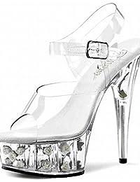 ZQ Zapatos de mujer-Tac¨®n Stiletto-Tacones / Punta Abierta / Plataforma-Tacones / Sandalias-Boda / Casual / Fiesta y Noche-PVC-Rosa / Rojo / , pink-us11 / eu43 / uk9 / cn44 , pink-us11 / eu43 / uk9 / cn44