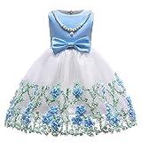 Ankoee Niña Flor Princesa Vestido de Fiesta de Cumpleaños de la Boda 3-10 años (Azul, 150cm/9-10 años)