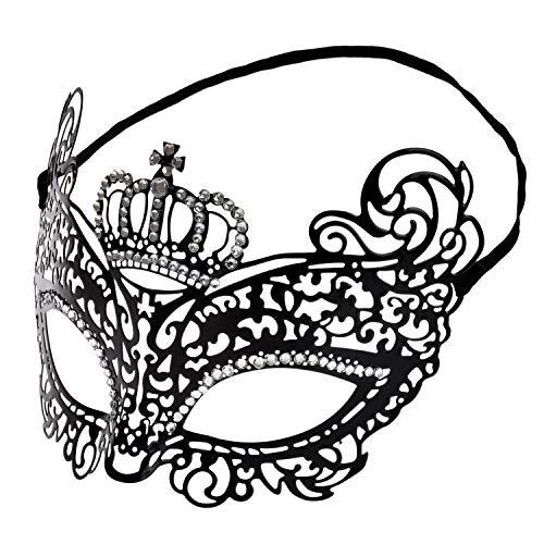 Lelengder Masquerade [ Metall venezianischen ] [ Strassbesetzung ], Schwarze Maske | Maske Damen | Maskenball Maske | Maskenspiel | Augenmaske für Karneval, Maskenball, Valentinstag, Maskerade