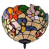 Tiffany Style LED Plafonnier Vitrail Vintage Perroquet Suspension for Salle À Manger Chambre Salon Hôtel Café Salle D'étude Restaurant Plafonnier (Color : Multi-colored, Size : 12 inch)
