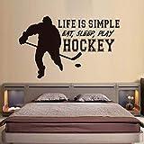 HNXDP La Vie Est Simple Mangez Sommeil Jouez Au Hockey Stickers Muraux Home Decor...