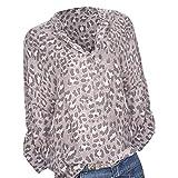 TianWlio Langarm Bluse Damen Frauen Mode Lässige Übergröße Damen Langarm Print Pockets Knopf Langarmshirt Bluse