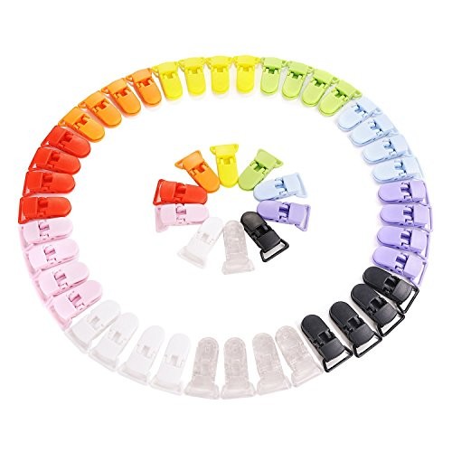 Pince à sucette bretelle attache clip plastique 10 couleurs   50 pcs   by RIVENBERT