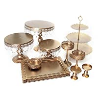Cake Stands Set Metal Antique Cupcake Stand Pastry Trays Dessert Display Plate Birthday Party Wedding Cake Stand Holder with Crystal Pendant and Beads