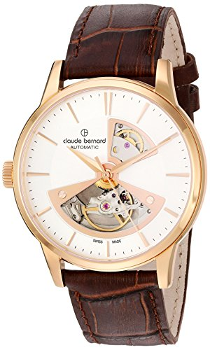 claude bernard Men's Analogue Swiss-Automatic Watch with Leather Strap 85017 37R AIR2