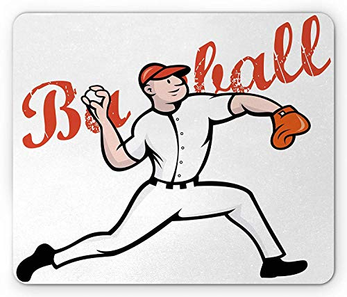 Sports Mouse Pad, Cartoon Illustration of Baseball Player Pitching Throwing Vintage Letters, Standard Size Rectangle Non-Slip Rubber Mousepad, Red Black Orange Baseball-mobile