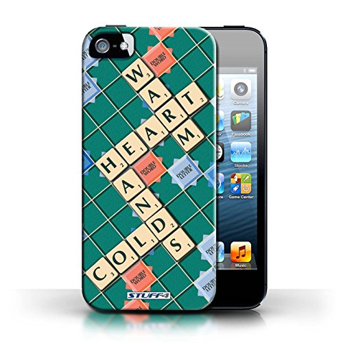 Kobalt® Imprimé Etui / Coque pour Apple iPhone 5/5S / Ennemis Proximité conception / Série Mots de Scrabble Coeur Chaud