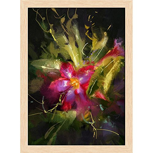 ArtzFolio Desert Rose Flower Canvas Painting Natural Brown Wood Frame 16 X 21.8Inch Rose Natural Wood