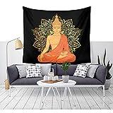 Indiano Buddha con loto parete tappeto Mandala Yoga meditazione cimiero Buddha Arazzo Boemia Spiaggia lancio Home studentato decori Copriletto parete parete panno tenda tovaglia 79 * 59in multicolore