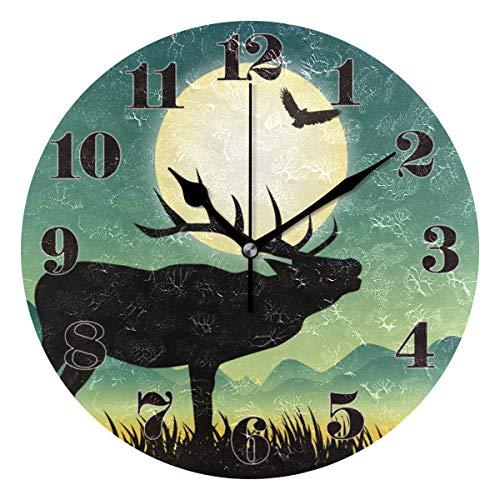 Mnsruu Runde Wanduhr Stille Nicht tickende, Elk und Moonlight Art Clock für Home Schlafzimmer Büro leicht zu lesen -