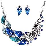 Yazilind, Ethno-Stil, tibetisches Silber blauer Pfau Ohrrings Halskette Kleopatra Latz-Set Hochzeit Party
