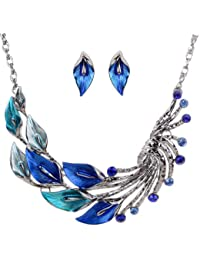 Yazilind Ethnic Style Tibetan Silver Blue Peacock Crystal Chunky Bib Earrings Necklace Set Wedding Party
