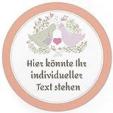 24 PERSONALISIERTE runde Hochzeits-Etiketten mit Motiv: Taubenpaar mit Herz - Ihre Aufkleber online selbst gestaltet, ganz individuell für Hochzeiten