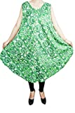 Indiatrendzs Women Tank Dresses Rayon Printed Summer Trendy Cocktail Party Poncho Midi Dress (GREEN-1, 42 X 44)