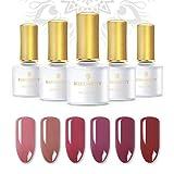 BORN PRETTY Millennial Rosa Gel Series 6 Flaschen Reine Farbe Nagelgelpoliermittel Weg Tränken Nail Art UV Gel Lack