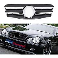 Parrilla para Benz W208 CLK Three FINS CLK320 CLK430 estilo negro con cromo 1997-2002