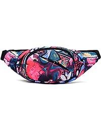 Riñonera lienzo 3-zipper Fanny Pack cintura bolsa con correa ajustable para correr Fitness ciclismo senderismo viajes Camping deportes (Multicolore)