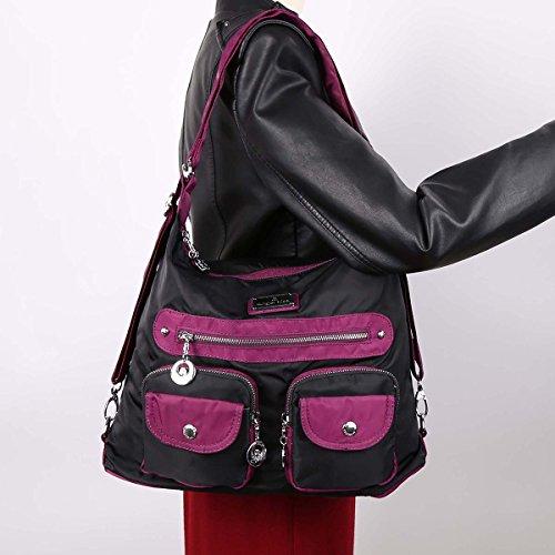 Angelkiss 3 utilizzo multi tasche borse sacchetti di spalla di nylon tessuto Zaino TP670 Nero