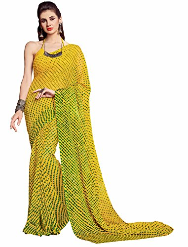 Miraan Printed Chiffon Saree for women with blouse (3203BYELLOW)