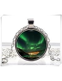 Northern Lights Anhänger Halskette Space Nebel Aurora Borealis grün Foto Charme