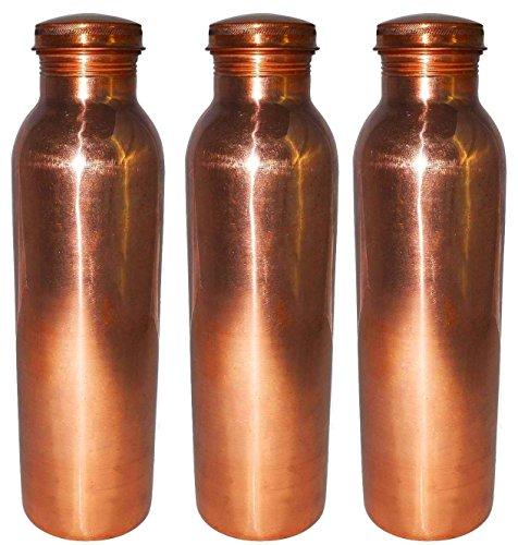 AsiaCraft pure Bouteille Copper Joint Gratuit pour Voyage 900 ML, Lot de 3