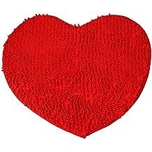 Rojo Corazón Love chenilla de microfibra suaves y esponjosas alfombra baño Dormitorio alfombra mat