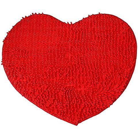Etbotu Red Heart Love microfiber chenille Soft Fluffy Rug Bathroom Bedroom Carpet Mat red