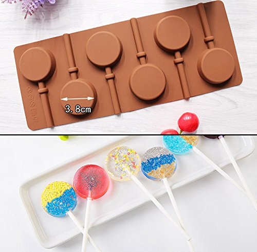 Fishyu Silicone Round Lollipop Cake Chocolate Soap Pudding Jelly Candy Ice Cookie Biscuit Mold Mould Pan Bakeware (Bogen Candy Mold)